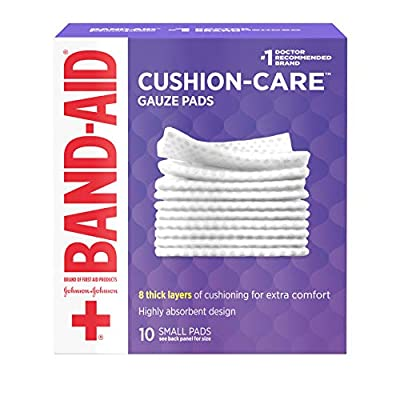 Band-aid Brand Cushion Care Individually-Wrapped Non-Stick Gauze Pads, Small 2 X 2 Inch, 10 Count (Pack of 24)