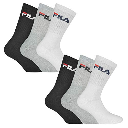 Fila 6 Paar Socken, Frottee Tennissocken mit Logobund, Unisex (2x 3er Pack) (Classic Mix (Schwarz; Weiß; Grau), 39-42 (6-8 UK))