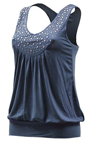 Diseño redondo de timbre de–playa de tirantes para mujer camiseta de cuello–5003–Tops con remaches timbre camiseta de tirantes Azul azul vaquero Talla única