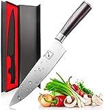 imarku Coltello da Cucina Coltelli da Chef Professionale, Coltello da Cuoco Lama Acciaio Inossidabile da 8'', Manico Ergonomico in Legno, Adatto per Tagliare Verdure, Carne e Frutta