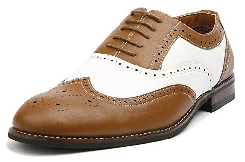 Ferro Aldo Arthur MFA139001D Mens Wingtip Two Tone Oxford Black and White Spectator Dress Shoes - Brown, Size 8.5