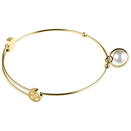Ernstes Design Bangles Armreif für Damen mit weißer Perle Edelstahl vergoldet Ø 5,8-6,2 cm A403.WHP