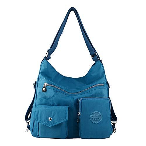 NOTAG Bolsos de Mujer, Impermeable Nylon Bolso Bandolera Multifuncional Mochilas Bolso Hombro Shopper (Azul claro)