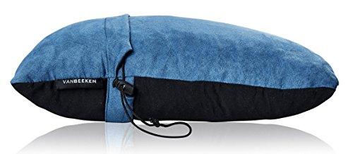 Reise-Nackenkissen Reise-Kissen – komprimierbares Nackenstützkissen aus geschreddertem Memory Foam, Outdoor Camping-Kissen mit Schlafmaske, Tragetasche – VAN BEEKEN Reise-Kopfkissen Travel Pillow