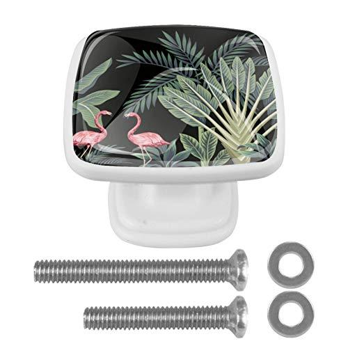 4 pomos cuadrados de cristal para puerta de armario, cajón, con tornillo, diseño de hojas negras y flamencos rosas
