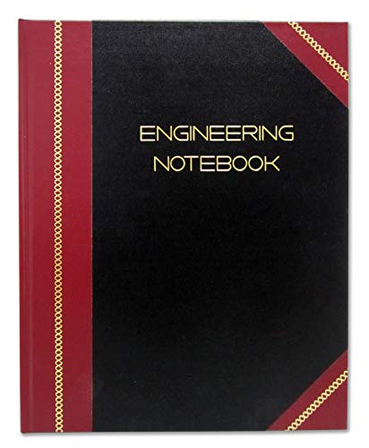 "BookFactory Professional Engineering Notebook - 96 Pages (Quad Ruled - .25"" Engineering Grid), 8"" x 10"", Engineering Lab Notebook, Black and Burgundy Cover, Smyth Sewn Hardbound (EPRIL-096-SGS-LKMST4)"