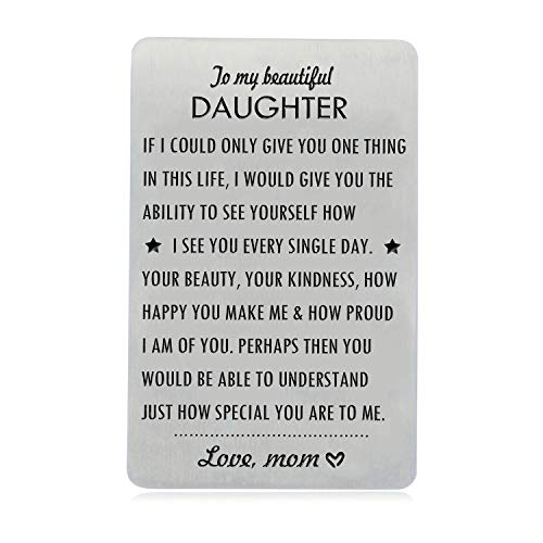 Gifts for Daughter from Mom, To My Daughter Engraved Wallet Card Inserts with Inspirational Quotes, Christmas, Birthday, Wedding, Graduation, Gift Ideas