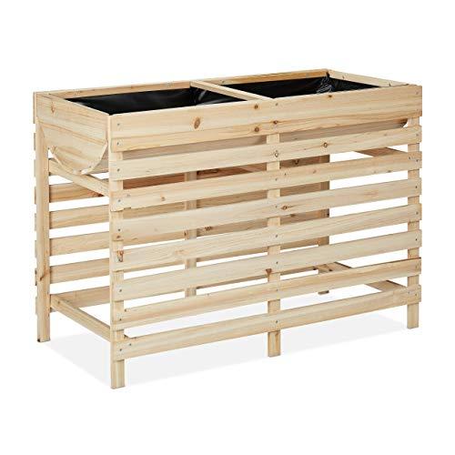 Relaxdays Hochbeet Holz, Balkon, Terrasse & Garten, inkl. Folie, Kräuterhochbeet auf Stelzen, HBT: 71x100x50 cm, Natur
