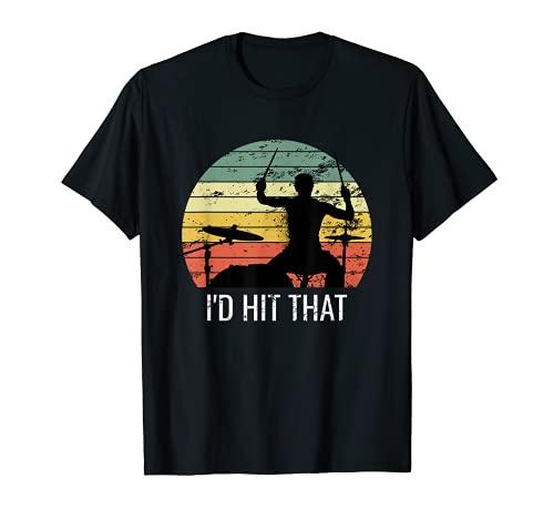 Me pegaba esa camisa Vintage Drums Drummer Percusión Drums Camiseta