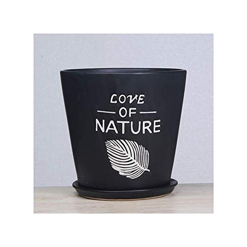 High Quality Black European Style Flower Pot Ceramics Extra Large Medium High-end Ground Green Plants Creativity Potted Plants Plastic Flower Pot with Tray (Size : Extra Large)