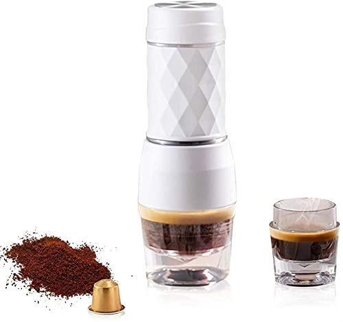 ZFQZKK Portable Espresso Maker, Mini Travel Coffee Maszyna, Capsule Pod proszek kawy Kompatybilny, Manual Ekspres do kawy Do Wędrówki, Kemping, Wędkowanie i Pikniki, Czarne mini ekspres do kawy