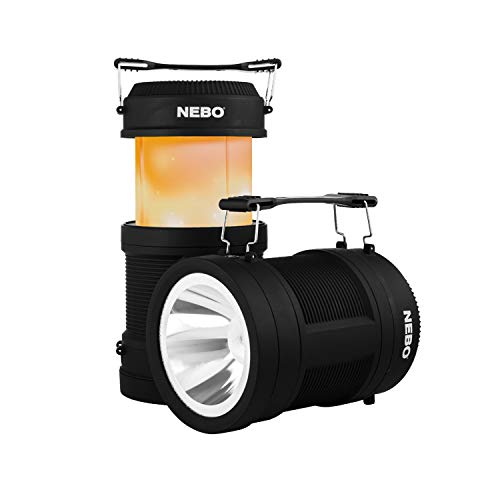 NEBO Big Poppy Rechargeable 4-in-1 Camping Laterne, USB Power Bank Schwarz