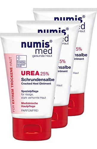 numis med Schrundensalbe mit 25% Urea - Fußpflege parfümfrei - Fußcreme für rissige & stark verhornte Füße - Schrunden Fusscreme im 3er Pack (3x 50 ml)