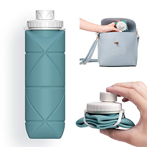 SPECIAL MADE Collapsible Water Bottles Leakproof Valve Reuseable BPA Free Silicone Foldable Water Bottle for Gym Camping Hiking Travel Sports Lightweight Durable 20oz Dark Green