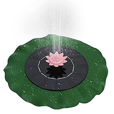 LionRoar Solar Fountain, Upgraded with 9 Nozzles 1W Solar Powered Fountain Pump with Lotus Leaf, Solar Bird Bath Fountain, Pond, Pool, Fish Tank, Aquarium and Garden Decoration