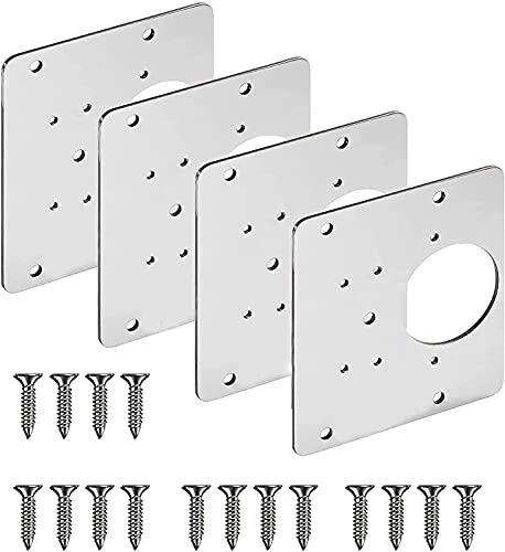 Schrank Scharnier-Reparaturplatte - Scharnier-Reparaturplatte mit Loch, Schranktür Holzmöbel-Reparatur aus rostfreiem Stahl die flache Halterung mit Befestigungsschrauben verbindet (4pcs)