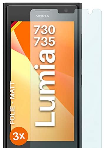 moex Schutzfolie matt kompatibel mit Nokia Lumia 730/735 - Folie gegen Reflexionen, Anti Reflex Bildschirmschutz, Matte Bildschirmfolie - 3X Stück