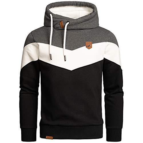Amaci&Sons Herren Basic Kapuzenpullover Sweatjacke Pullover Hoodie Sweatshirt 4052 Anthrazit/Weiß/Schwarz L
