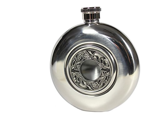 Irish Whiskey Flask Stainless Steel Flask 5 Fl. Oz. Book of Kells Design Irish Flasks Made Co, Westmeath Ireland