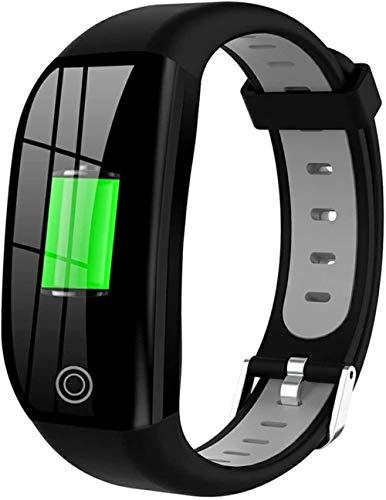 Reloj inteligente pulsera inteligente impermeable fitness tracker monitoreo de frecuencia cardíaca pulsera deportiva reloj inteligente (color: verde)-gris plata