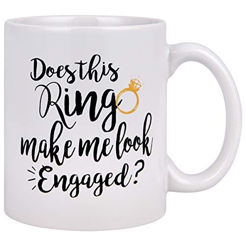 Funny Coffee Mug Does This Ring Make Me Look Engaged Coffee Tea Cup Funny Mug Novelty Coffee Mug for Men Women Birthday Festival Christmas Engagement