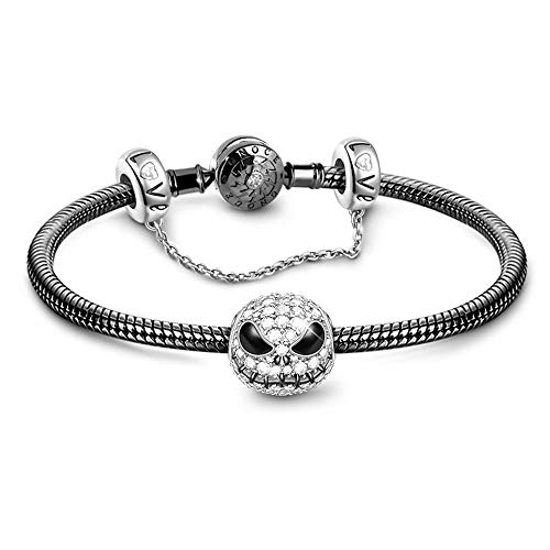 GNOCE Black Charm Bracelet 925 Sterling Silver Snake Chain Bracelet with Skull Charm Bead Safety Chain Basic Charm Bangle with Clasp (19)