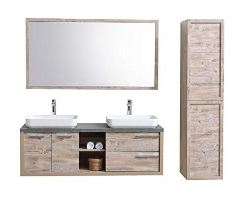 Badezimmer Badmöbel Vermont 150 cm Nature Wood - Unterschrank Schrank Waschbecken Spiegel Hochschrank
