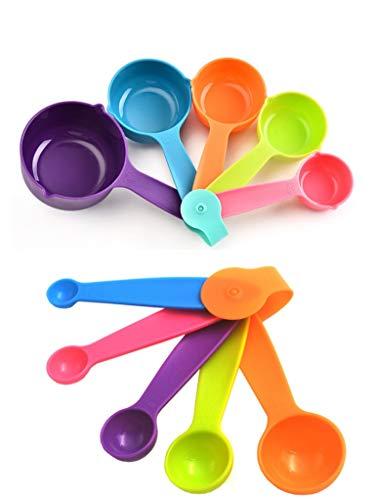 Lot de 10 Cuillères Doseuses Cuillères et Tasses à Mesurer en Plastique Doseurs de Cuisine pour des Mesures Précises de Vos Ingrédients en ML et en Cup