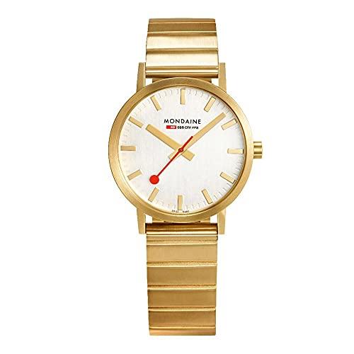 MONDAINE Movimiento de cuarzo clásico esfera blanca reloj de pulsera de acero inoxidable A660.30314.16SBM