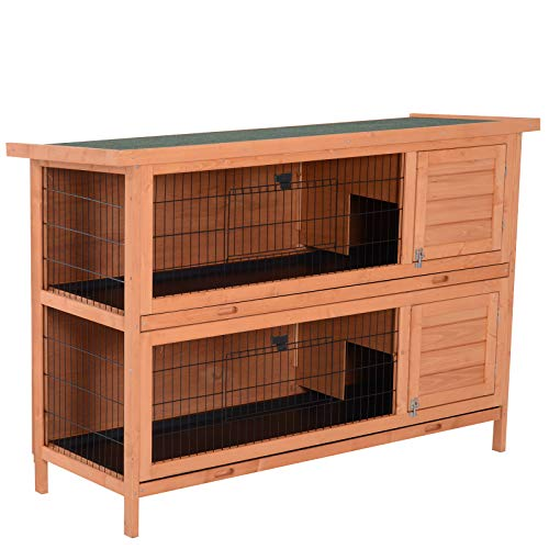 """PawHut 54"""" Raised Compact Dual Outdoor Wooden Rabbit Hutch Small Animal Cage"""