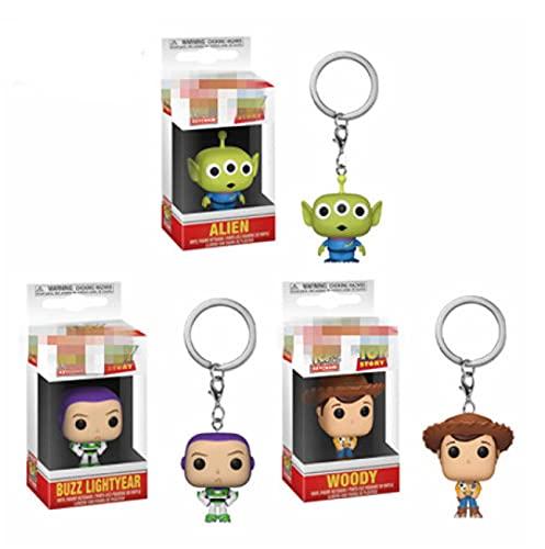 3 Piezas Figuras Pop Toy Story Woody Buzz Lightyear Alien Llavero Acción Y Figura 5 Cm, PVC Llaveros Juguetes Vinilo Muñeca Llavero para Regalo
