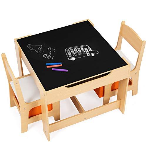DREAMADE Multifunktionale Kindersitzgruppe, Kindertisch mit 2 Stühle & 2 Aufbewahrungsboxen für zusätzlichen Stauraum, abnehmbare Tischplatte mit Tafel für Malen, 3-teiliges Set Kindermöbel (Natur)