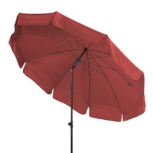 Doppler - Hochwertiger, runder Sonnenschirm für den Balkon - Knickbar - UV-Schutz 50+ - 250 cm - Terracotta