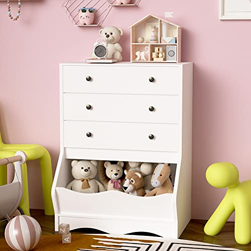 White Dressers & Chests of 3 Drawers, Chest of Storage Drawers and Toy Organizer, Tall Dresser Kids Wood Dresser for Bedroom, Cubby Storage Organizer, Toy Chest for Girls and Boys, White