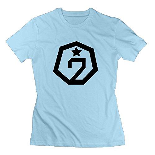 Quxiangy Women's GOT7 T-Shirt Bambam Mark Jackson Youngjae Tee Sky Blue