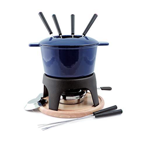 Swissmar Sierra 1.6-Quart Cast Iron Meat Fondue Set, 11-Piece, Deep Blue