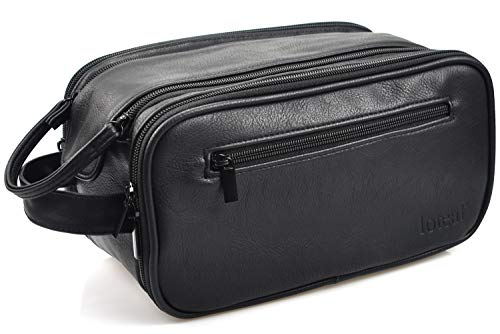Loteaf Toiletry Bag for Men PU Leather Water-Resistant Travel Toiletry Organizer Shaving Bag Dopp Kit for Toiletries Accessories (Black)