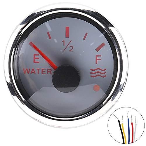 Medidor de nivel de agua, 52 mm/2 pulgadas Medidores de nivel de agua 9‑30 V CC Alarma inteligente para barco marino RV 0‑190ohm Sensor europeo(Blanco)