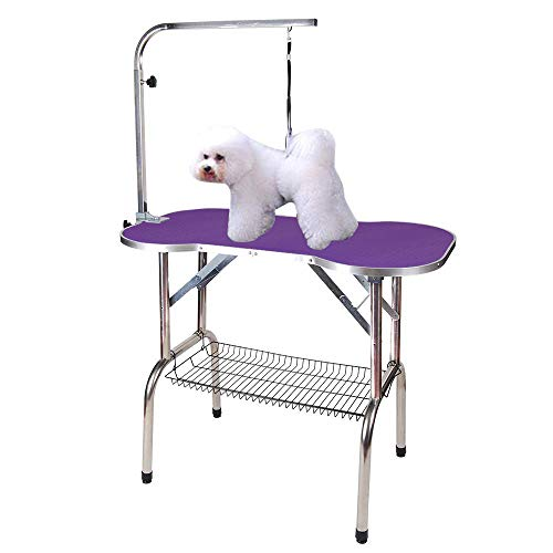 "Polar Aurora Pingkay Heavy Duty Stainless Steel Pet Professional Dog Bone Pattern Foldable Grooming Table w/Adjustable Arm & Noose & Mesh Tray (32"")"