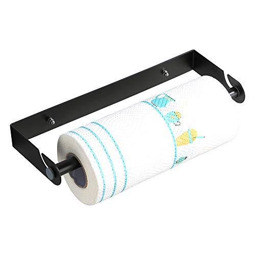 KUNGYO Portarotolo Acciaio per Il Bagno della Cucina Inossidabile Wall Mount Dispenser di Pellicola - Staccabile Rotolo di Carta Asciugamano Conservazione Cremagliera(Nero, Aspirazione)