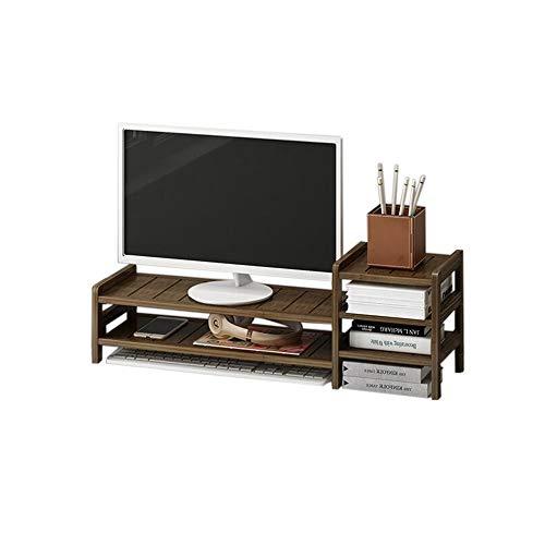 JCNFA desktop-computerversterker tentoonstellingsstand van hout beeldscherm Riser-Computer DIY montage basisplaat, 2 lagen 27.55 * 7.87 * 8.26in carbon