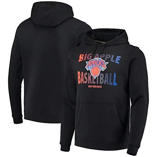 BMSD Sudaderas con Capucha Jersey NBA Knicks Negro Deporte Hombres Baloncesto Uniforme de Manga Larga Ropa de impresión de Moda, L