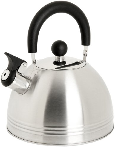 Mr. Coffee Carterton 1.5 Quart Stainless Steel Whistling Tea Kettle, Silver