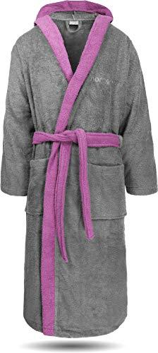 normani 100% Baumwoll Bademantel Saunamantel zweifarbig und einfarbig mit und ohne Kapuze für Damen und Herren [Gr. XS - 4XL] Farbe Grau/Rosa Größe S