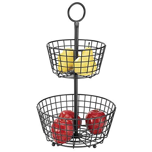 mDesign Cesta de frutas moderna – Canasta para frutas grande con 2 niveles para la mesa del comedor o la encimera de la cocina – Frutero metálico decorativo – negro mate