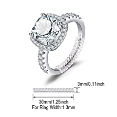 JewelryPalace Cushion 3ct Cubic Zirconia Promise Halo Solitaire Engagement Ring 925 Sterling Silver Size X #4