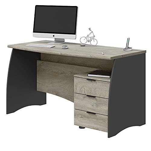 Mesa de Despacho con 3 Cajones, Mesa de Oficina o Estudio, Modelo Stil, Acabado en Gris Antracita y Roble Alaska, Medidas: 136 cm (Ancho) x 67 cm (Fondo) x 74 cm (Alto)