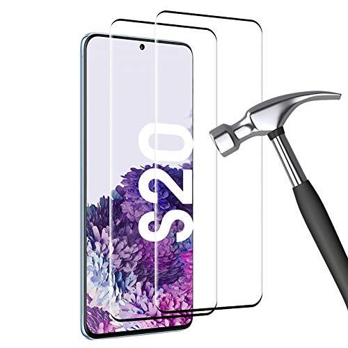 Carantee Panzerglas für Samsung Galaxy S20 Schutzfolie [2 Stück] Härte 9H, Fallfestigkeit, Kratzfestigkeit, 3D-gebogenen Volle Bedeckung mit Samsung S20 Panzerglasfolie