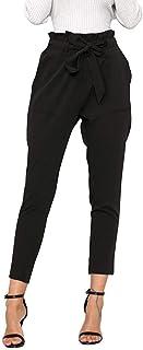 Women Elegant Casual High Waist Harem Pants Elastic Waist with Belt Solid Color Skinny Comfortable Trousers