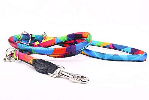 Capadi K1031 Hochwertige verstellbare farbige Hundeleine Rundform aus weichem Nylon und Starke Schnur im inneren, Bunt, Breite 12 mm, Länge 220 cm